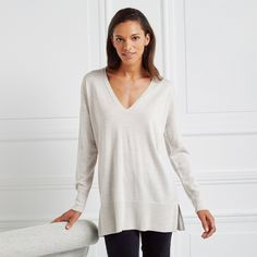 Spun from completely natural and temperature-regulating merino, this soft jumper is a great Christmas-Day option. We have applied sequins along the back and over the shoulders for a scattered sparkle finish. This is cut to be slightly slouchy, with dro Jumper Outfit, The White Company, Clothes For Sale, Sequins, Tunic Tops, Wool, Jumpers, Clothing, Fashion