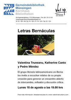 Lectura de Valentina Truneanu, Katherine Canto Castro y Pedro Méndez, del grupo literario Letras Bernáculas, en la biblioteca de Münsingen (cantón Berna) el lunes 18 de agosto de 2014.