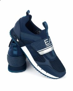 sale retailer 575be 935bf Zapatillas Emporio Armani EA7 - Azul Marino Logo Plata Armani Shoes Mens,  Armani Men,