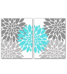 Gray and Tiffany Blue Flower Bursts Wall by PurpleChickletPrints, $35.00