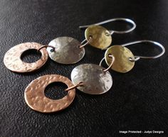 Mixed metal earrings by JudysDesigns on etsy.com