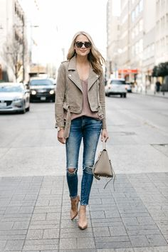 Fashion Jackson, Street Style, Blanknyc Tan Suede Moto Jacket, Blush Cami, Denim Ripped Skinny Jeans, Christian Louboutin Nude Pumps, Celine Belt Bag