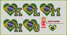 Meu Cantinho: Gráficos em Ponto Cruz Motivo Copa !!! !!! Brazil Flag, Patch, Knit Crochet, Kids Rugs, Knitting, Cross Stitches, Embroidery, Cross Stitch Alphabet, Breakfast Nook