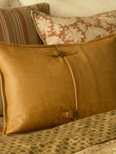 Ralph Lauren Home. Really nice tan Equestrian Croc leather pillow.