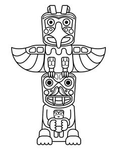 Native American Day, : Native American Totem Sculptures on Native American Day Coloring Page