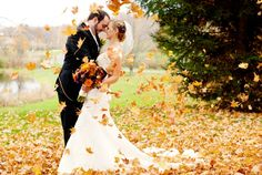 Fall wedding in Connecticut - leafes love cute couple autumn wedding white wedding gown great orange buquet
