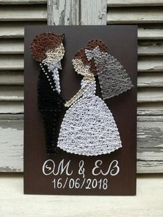 Personalized Handmade Wedding Gift String Art Bbride and Groom Wedding date Nail Art String Wall Art, Nail String Art, String Crafts, Resin Crafts, String Art Templates, String Art Tutorials, String Art Patterns, Disney String Art, Wedding String Art