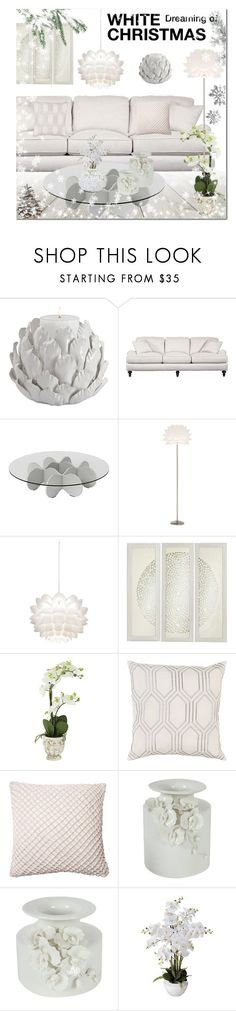 """""""Dreaming of White Christmas!"""" by lampsplus ❤ liked on Polyvore featuring interior, interiors, interior design, home, home decor, interior decorating, Waverly, Possini Euro Design, Surya and Dahlia Studios"""