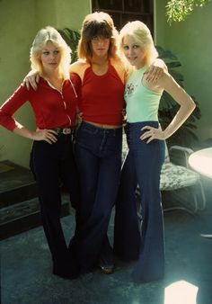"""""""Marie Currie, Jackie Fox & Cherie Currie in San Francisco Valley """" Seventies Fashion, 70s Fashion, Pop Punk, Marie Currie, Rock And Roll, Sandy West, Lita Ford, Women Of Rock, Wild Girl"""