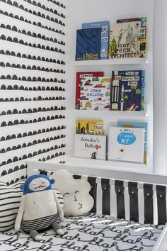 Black and White Boy's Room - love the wallpaper accent wall from @fermliving!
