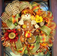 Scarecrow Fall Deco Mesh Wreath by myfriendbo on Etsy, $100.00