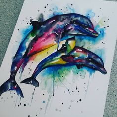 Dolphins in progress #dolphins #progress #painting #inked #sea #watercolor #