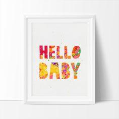 Hello Baby Printable Art Nursery Quote Art by BigFamilyArt on Etsy