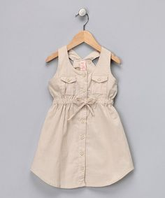 Take a look at this Khaki Button-Up Racerback Dress - Toddler & Girls by Chillipop on #zulily today!
