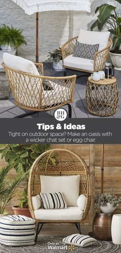Transform your patio into an outdoor oasis with Better Homes & Gardens at Walmart! #patiofurniture #outdoorfurniture #wicker #eggchair
