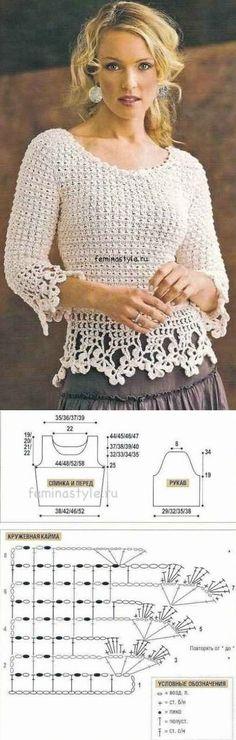 ВЯЗАНИЕ - Ажурный пуловер. - Вязание спицами, крючком