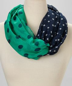 Love this Emerald & Navy Dot Infinity Scarf by Occasionally Made on #zulily! #zulilyfinds