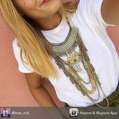 Repost from @ines_rcd using @RepostRegramApp - Tenue du jour w/ mon collier ethnique de folie @diwali_paris en couleur or ! {C'est le modèle Partenope}  Vous aimez ?  Et si vous vous inscrivez à leur newsletter vous avez -25% sur le produit de votre choix ! Il existe aussi en argent (voir post precedent) #inlove #necklace #collier #ootd #wiwt #look #diwali #gold #details