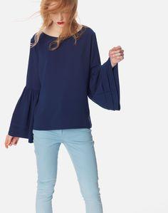 Μπλούζα με πιέτες στα μανίκια Bell Sleeves, Bell Sleeve Top, Ruffle Blouse, Long Sleeve, Tops, Women, Style, Fashion, Moda