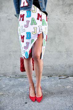 denim jacket + black tee + white pencil skirt + red heels