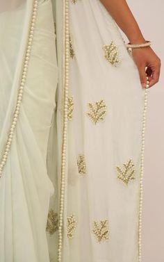 Pearl Embellished Icy Mint Pure Chiffon Saree Lace Saree, Organza Saree, White Saree, Cotton Saree, Sari Blouse, Saree Blouse Designs, Pearl Work Saree, Embroidery Saree, Pearl Embroidery