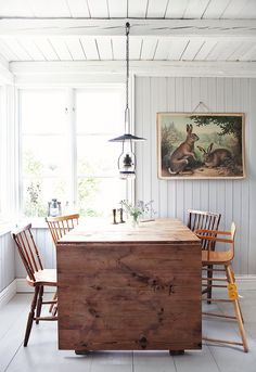 Love this small table for four that can be expanded for many more to save space in tiny home or any small space.