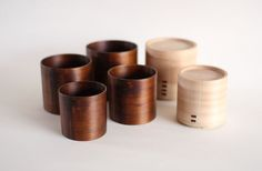 Akita cedar cups. put two together to make a small container or nest them.