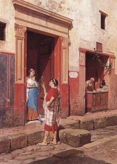 Life as it was in Pompeii - Luigi Bazzani - Corteggiamento a Pompei by Occhio Fantastico Ancient Pompeii, Pompeii And Herculaneum, Roman Architecture, Historical Architecture, Roman History, Art History, European History, American History, Pompeii Italy