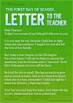 The First Day Of School — Letter To The Teacher: Poster