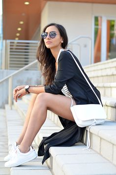 Blogger Formulah Farah with her favorite white sneakers - www.sacha-shoes.com