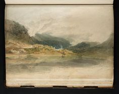 Joseph Mallord William Turner, 'Crummock Water, Looking towards Buttermere' 1797 (J. Turner: Sketchbooks, Drawings and Watercolours) Joseph Mallord William Turner, Artist Journal, Artist Sketchbook, Turner Watercolors, Turner Painting, English Artists, Lake District, Famous Artists, Landscape Paintings