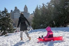 A woman in New York City drags a young girl through New York City's Central Park in a sled...