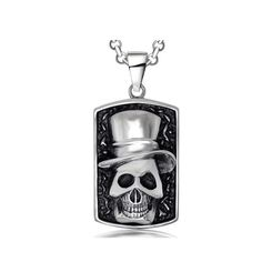 The skeleton clown is a highly polished, stainless steel, fun skull necklace that is modeled after 'dog tags'. #RearTone #pendant #fashion #skull