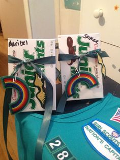For bridging ceremony from Brownies to Juniors. Pinned patches to Junior mints for girls