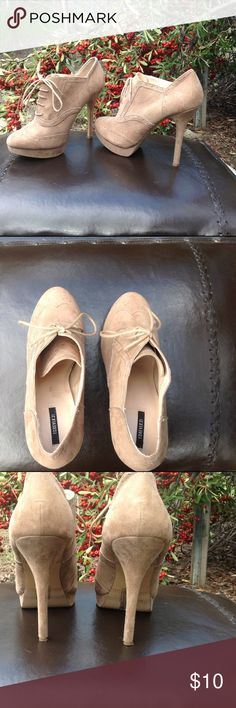 """$10 Step Into Spring 👡Sale - Forever 21 Cute lace up platform stilettos. Awesome neutral color. Material feel like suede, but not sure of the material content. My daughter wore these in a couple of photo shoots. Only visible signs of wear are on the bottom. See pics. 5"""" heel height, 1/2"""" platform. EUC! Forever 21 Shoes Heels"""
