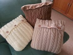 My cable knitted cushions.