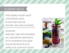 Organic Blueberry Mojito #recipe #recipes #cocktails #wedding #organic #drinks