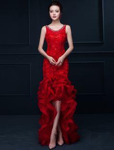 Efektowne Syrenka Czerwone Długie Suknie Wieczorowe Kwiat Impreza Sukienka Z Organzy Rhinestone