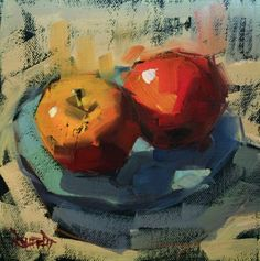 Two Apples, painting by artist Cathleen Rehfeld