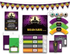 Printable Digital PDF Party Pack - Halloween - 1 from Wonderful Dreamland on TeachersNotebook.com -  (21 pages)  - Halloween, party pack, invitation or all purpose card, cupcake wrappers, cupcake toppers, bottle wrappers, pennant banner, rectangular banner, haunted mansion, eyeball soup, grave, coffin