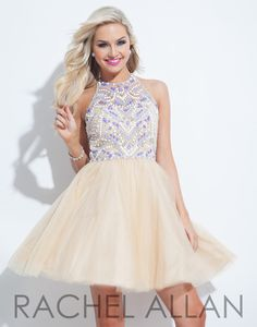 Rachel Allan 4061 Nude Purple Homecoming Dress