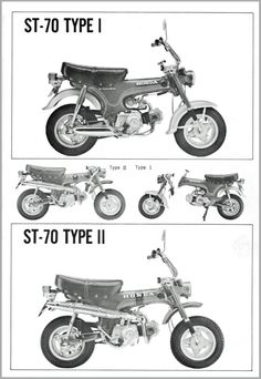 Honda ST 70 Dax, Type 1 and 2, frühe und spätere Ausführung.