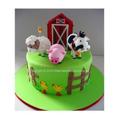 Farm Animals Birthday Cake, 1st Birthday Cakes Sydney Australia, Kids Birthday Cakes, Birthday Cake Designs, Barn Yard Birthday Cake ($490) found on Polyvore