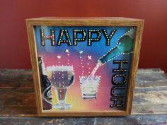 Rare Vintage Happy Hour Sign Barware Color Changing Fiber Optic Bar Light Lamp