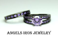 ANGELS IRON - Black Gold Ring Women Enagement Wedding Anniversary Promise Rings Purple Amethyst CZ Women Unique Gothic Jewelry