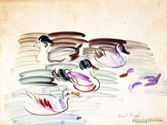 Study of Ducks Artwork by Raoul Dufy Hand-painted and Art Prints on canvas for sale,you can custom the size and frame