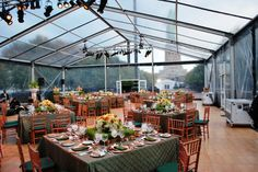 A fabulous scene with a custom frame tent and a view of the Statue of Liberty #luxury weddings