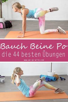 44 effektive Bauch Beine Po Übungen für zuhause fürs BBP Training 44 Effective Abdominal Legs Butt exercises for the home for your BBP workout Fitness Workouts, Training Fitness, 30 Day Fitness, Fitness Routines, Fitness Activities, Ab Workouts, Yoga Fitness, At Home Workouts, Fitness Tips