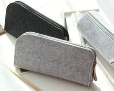 Felt Pencil Case, Toiletries Bag, Minimal Design, Simple, Grey, Charcoal Pouch, Organizer, Small Bag, Cosmetic Bag