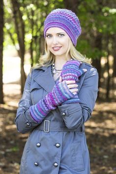 Free knitting pattern - Brambleberry Hat and Mitts in Saki Bamboo